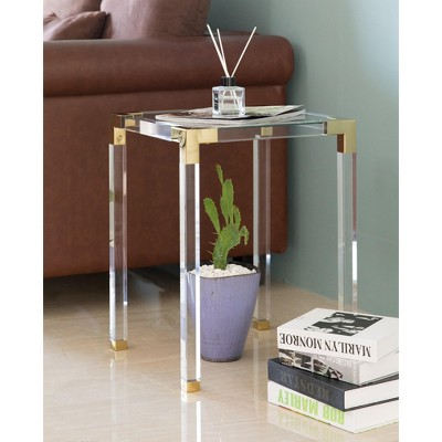 Bold Tones Square Acrylic Gold Metal Modern Tempered Glass End Side Table