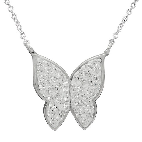 Women's Silver Plated Crystal Butterfly Festoon Necklace - image 1 of 1