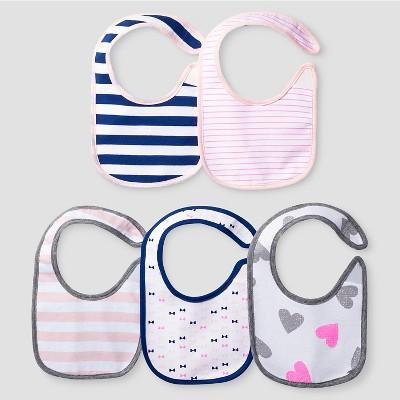 Baby Girls' 5 Pack Bib Set - Cat & Jack™ Pink/Navy