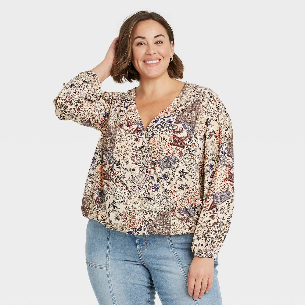 Women 39 S Plus Size Floral Print Long Sleeve Top Knox Rose 8482 Ivory 4x