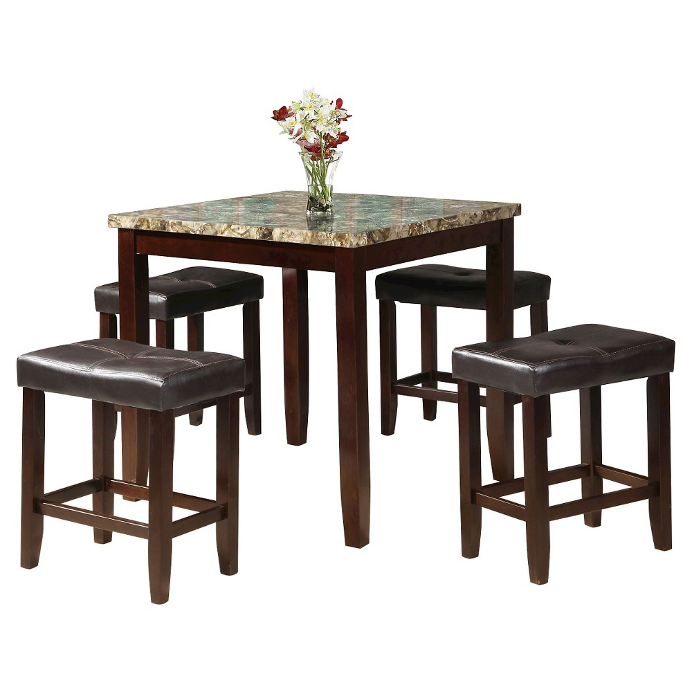 Rolle 5 Piece Counter Height Dining Set - Faux Marble and Espresso - Acme, Espresso Brown