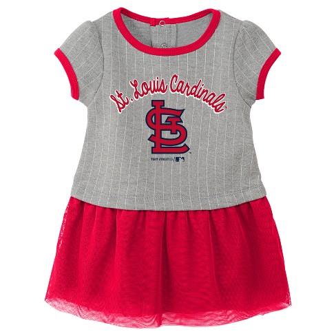 cc43dd91 St. Louis Cardinals Baby Girls' Pinstriped Short Sleeve Dress & Bloomer Set  - Gray 12 M