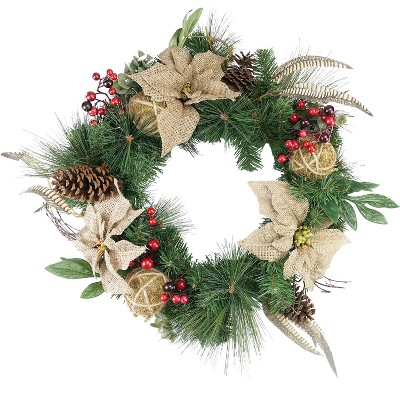 """Northlight 24"""" Unlit Mixed Pine Berry and Burlap Poinsettia Artificial Christmas Wreath"""