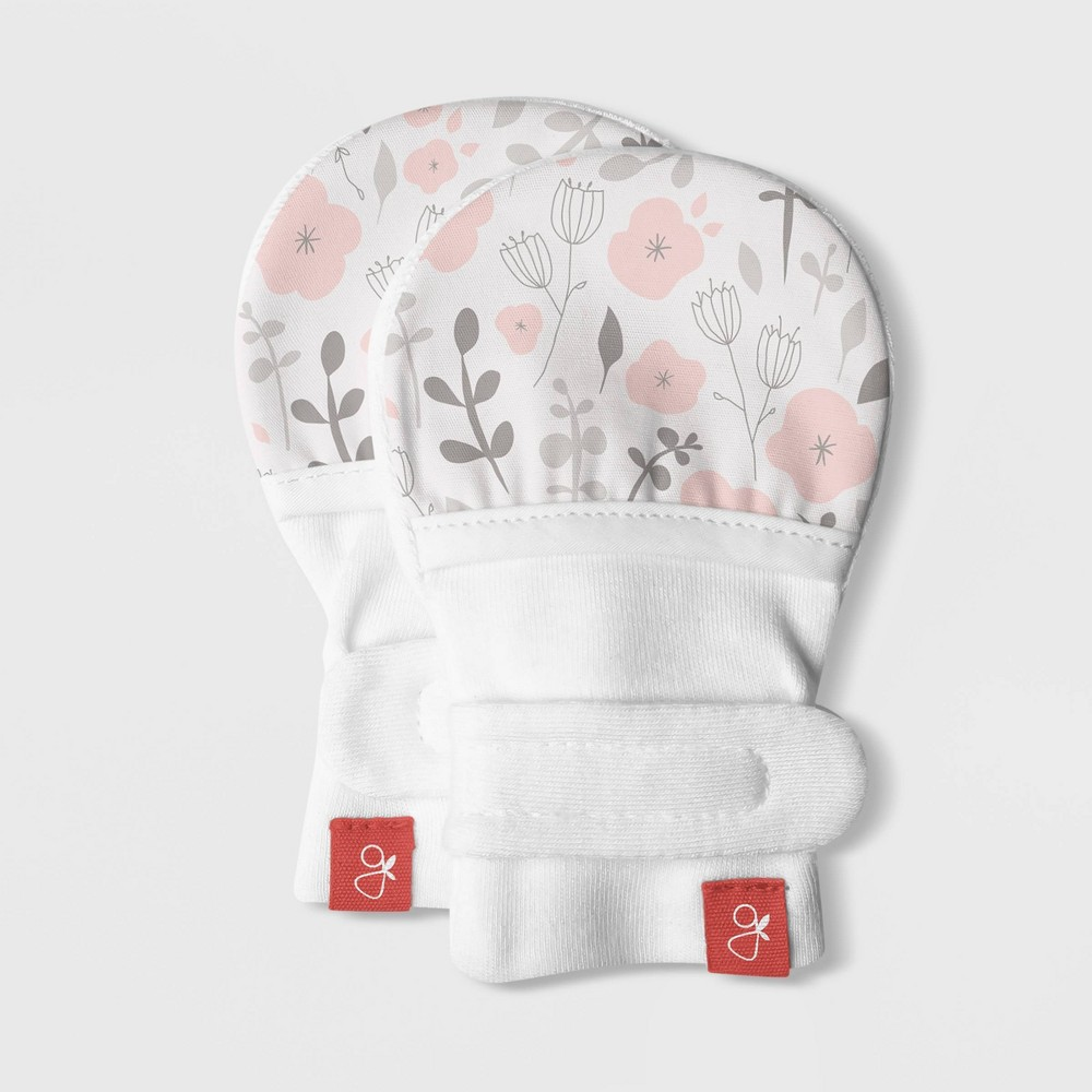 Image of Goumikids Baby Girls' Organic Cotton Enchanted Garden Floral Mitts - Pink 0-3M, Girl's, Gray Pink White