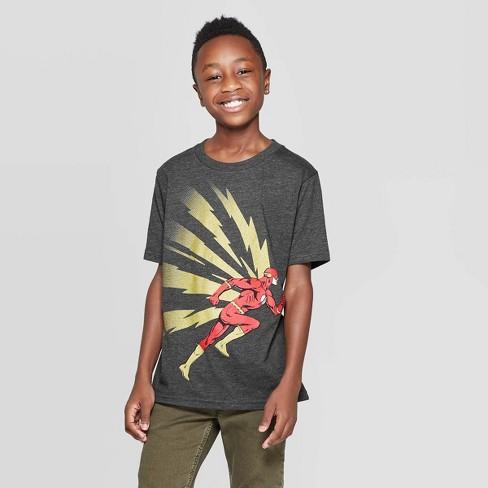Boys' DC Comics Flash Dash Bolts T-Shirt - Charcoal - image 1 of 3