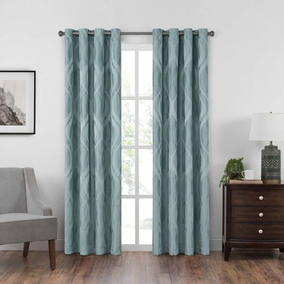 52 x84  Caprese Grommet Top Blackout Curtain Panels Spa Blue - Eclipse
