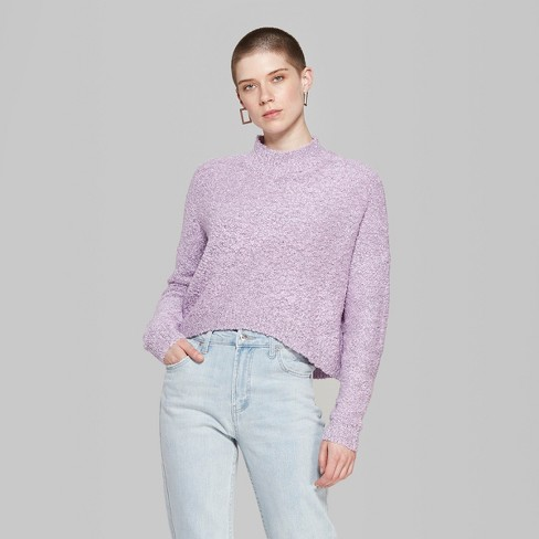 129fc86f9 Women s Oversized Boucle Mock Neck Pullover - Wild Fable™ Lavender ...
