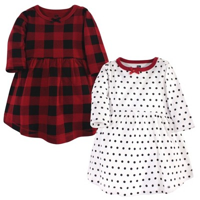 Hudson Baby Infant and Toddler Girl Long-Sleeve Cotton Dresses 2pk, Classic Holiday