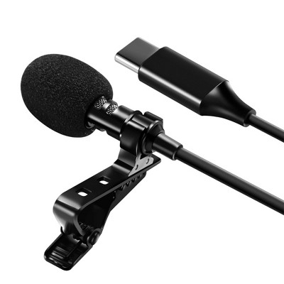 Professional USB-C Lavalier Lapel Microphone Omnidirectional Mic with Metal Clip For Recording Youtube Conference Call Android Cell phone Insten