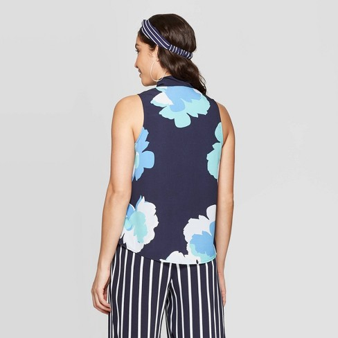 23ef31acfe324 Women s Floral Print Sleeveless V-Neck Tie Top - A New Day™ Blue ...