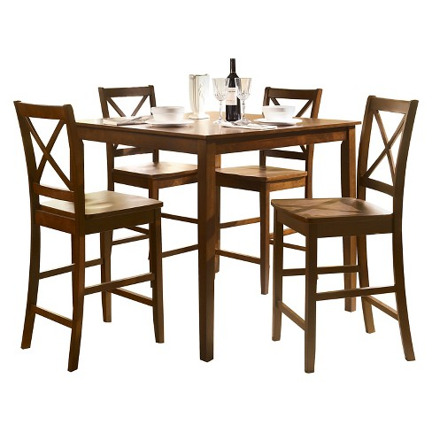5 Piece Martha Counter Height Dining Set Wood/Country Brown - Acme - image 1 of 1