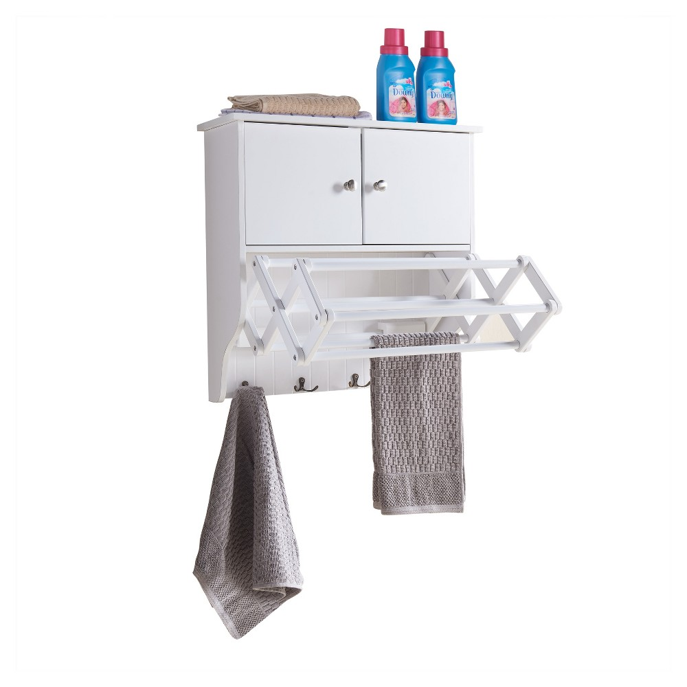 Accordion Drying Rack with Cabinet - Danya B., White