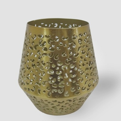 4.5  Perforated Leopard Print Outdoor Lantern Candle Holder Gold - Opalhouse™