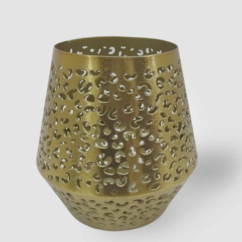 4.5 Perforated Leopard Print Outdoor Lantern Candle Holder Gold - Opalhouse