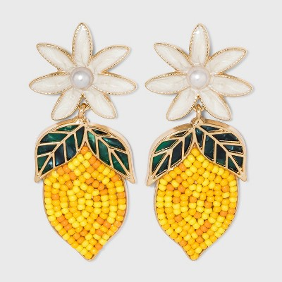 SUGARFIX by BaubleBar Beaded Lemon Drop Earrings - Yellow