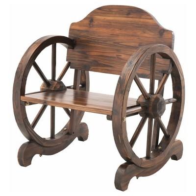 Rustic Wagon Wheel Wood Chair   Burned Wood Color   Sunjoy