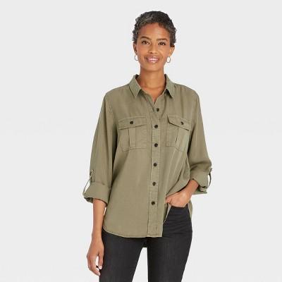 Women's Long Sleeve Button-Down Utility Shirt - Knox Rose™