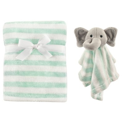 Hudson Baby Infant Plush Blanket with Security Blanket, Gray Elephant, One Size