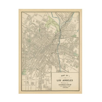 "35"" x 47"" Wild Apple Portfolio 'Map of Los Angeles' Unframed Wall Canvas - Trademark Fine Art"