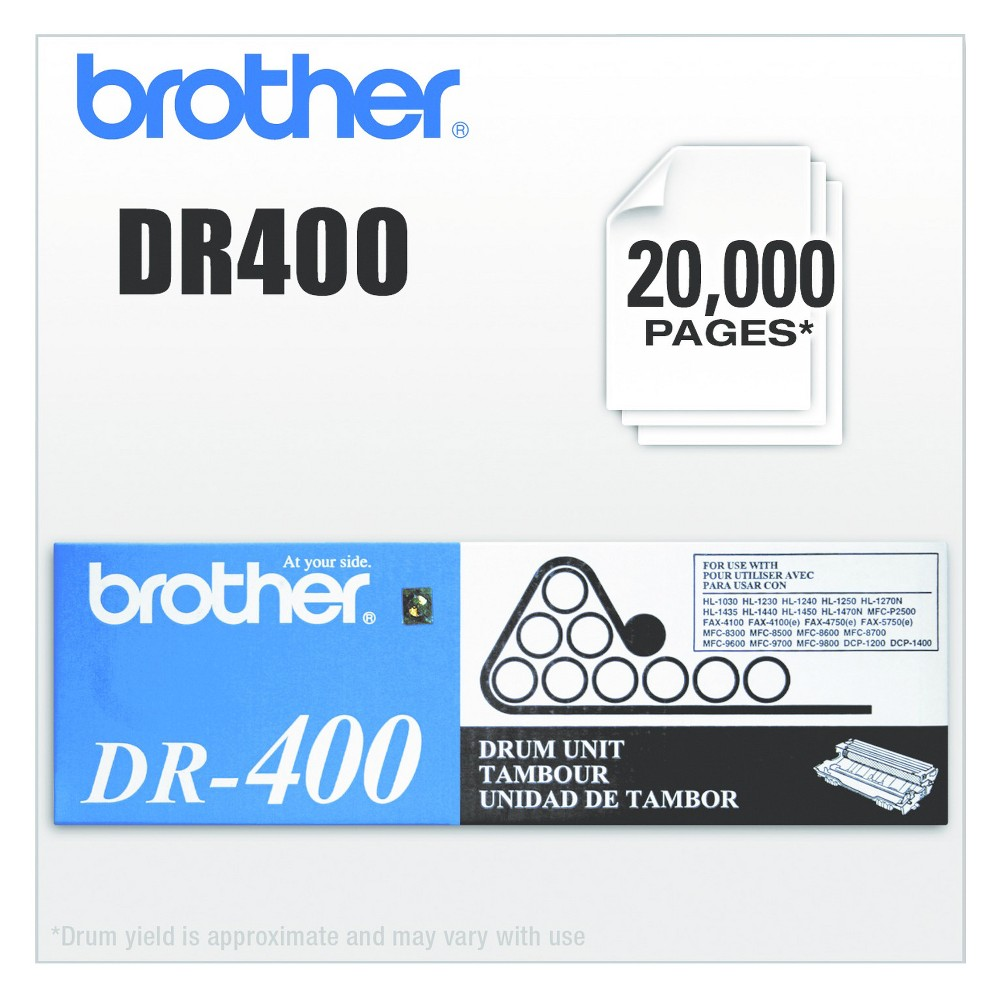 Brother DR400 Laser Printer Drum Unit - Black (BRTDR400) Keep your printing crisp and your machine running smoothly with this Oem laser drum cartridge. Manufactured for reliable performance with optimal results. Installs quickly and easily. Device Types: Fax; Multifunction Inkjet Printer; Color(s): Black; Page-Yield: 20000; Supply Type: Drum Unit.