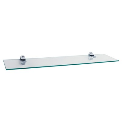 24  x 6  Glass Floating Shelf with Brackets Clear/Silver - Danya B.