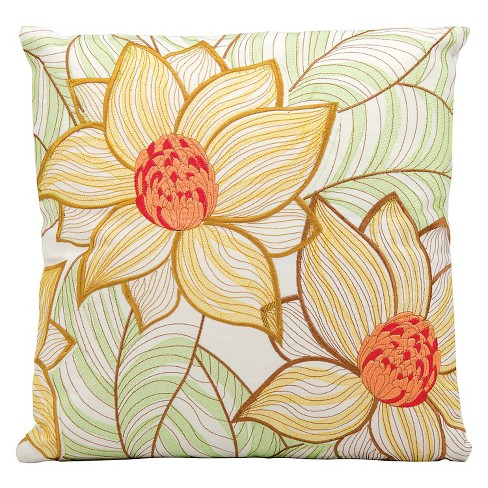 "Yellow Floral Indoor/Outdoor Throw Pillow (18""x18"") - Nourison - image 1 of 1"