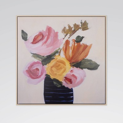 """27.9"""" x 27.9"""" Floral Bouquet Framed Printed Canvas Wall Art - Opalhouse™"""