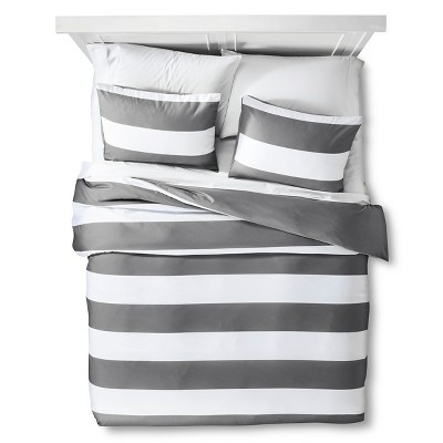 Gray Rugby Stripe Duvet Cover Set (King)- Room Essentials™