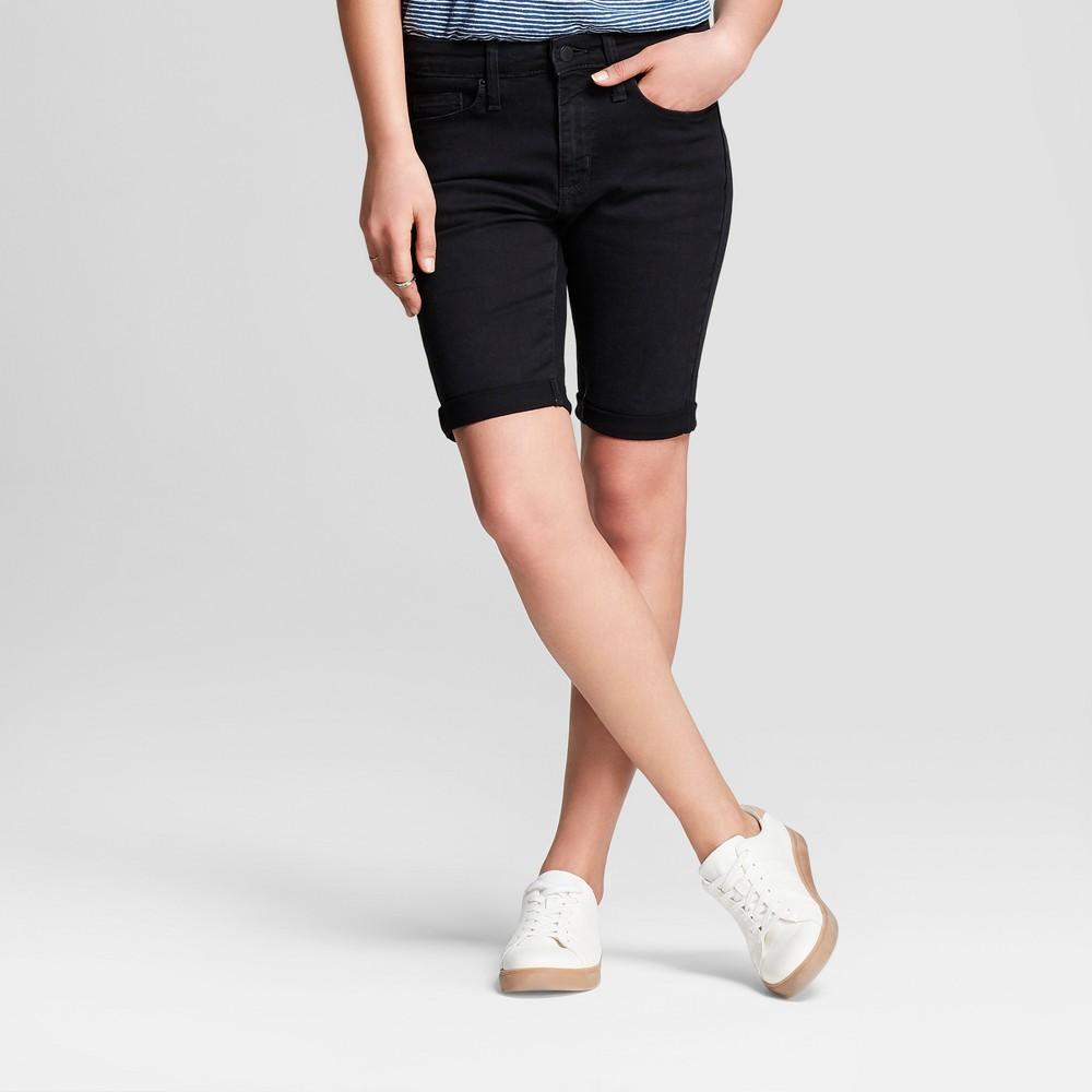 Women's High-Rise Roll Cuff Bermuda Jean Shorts - Universal Thread Black 2