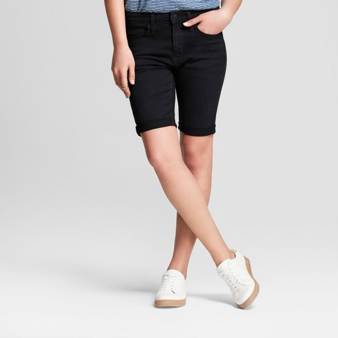 Women's High-Rise Roll Cuff Bermuda Jean Shorts - Universal Thread™ Black - image 1 of 3