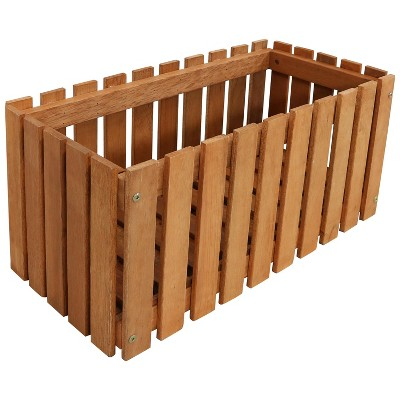 "24"" Rectangular Meranti Wood Picket Style Planter Box with Teak Oil Finish - Sunnydaze Decor"