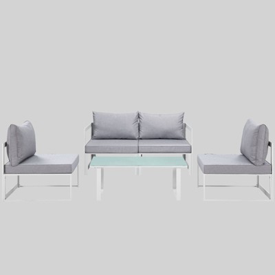 Fortuna 5pc Outdoor Patio Sectional Set - Gray - Modway