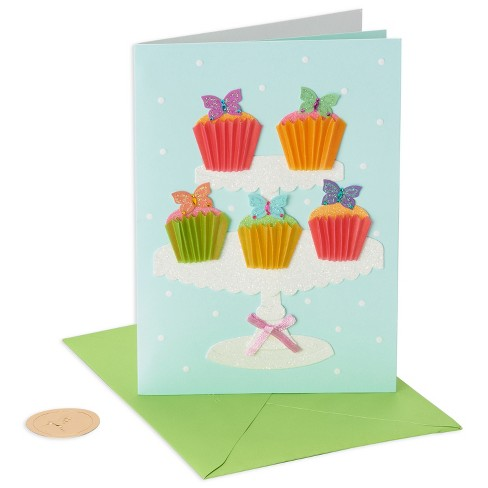 Papyrus Butterfly Cupcakes Birthday Card Target