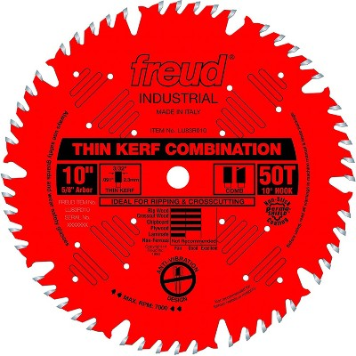 Freud LU83R010 10 Inch 50T Thin Kerf Ultimate Combination Splinter Free Anti Vibration Cutting Saw Blade for Crosscutting and Ripping
