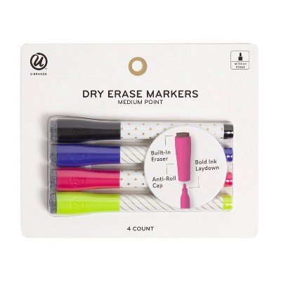 U Brands 4ct Dry Erase Medium Point Markers