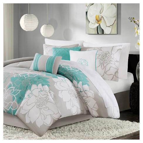 Jane Floral Print Comforter Set California King Aqua 7pc Target