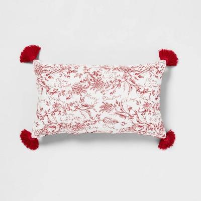 Printed 'Merry Christmas' with Cotton Velvet Reversible Lumbar Throw Pillow - Threshold™