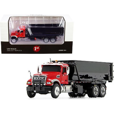 Mack Granite with Tub-Style Roll-Off Container Dump Truck Red and Black 1/87 Diecast Model by First Gear