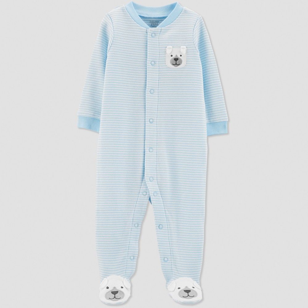 Baby Boys' Thermal Stripe Dog Sleep 'N Play - Just One You made by carter's Blue 6M