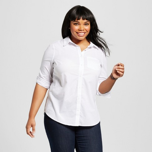 Women\'s Plus Size Textured Button-Down Shirt - Ava & Viv™ White X