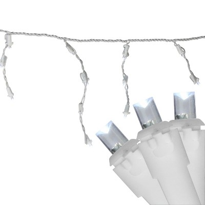 Northlight 100ct LED Wide Angle Icicle Christmas Lights Pure White - 5.5' White Wire