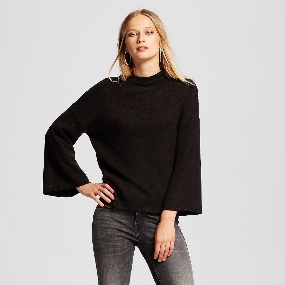 Women's Wide Sleeve Mock Neck Sweater - Who What Wear Black Xxl