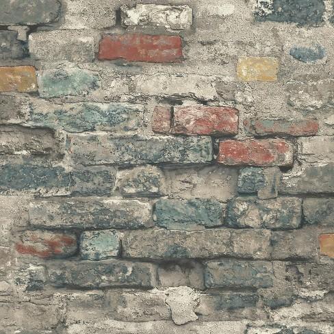 Roommates Brick Alley Peel Stick Wallpaper Target