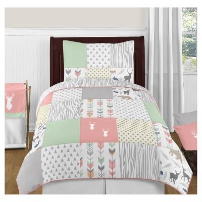 Coral & Mint Woodsy Comforter Set (Twin) - Sweet Jojo Designs