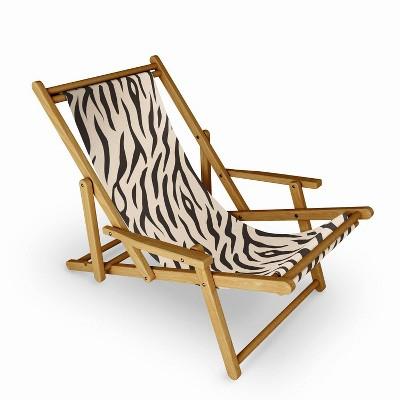 Avenie Tiger Stripes Sling Chair - Cream - Deny Designs