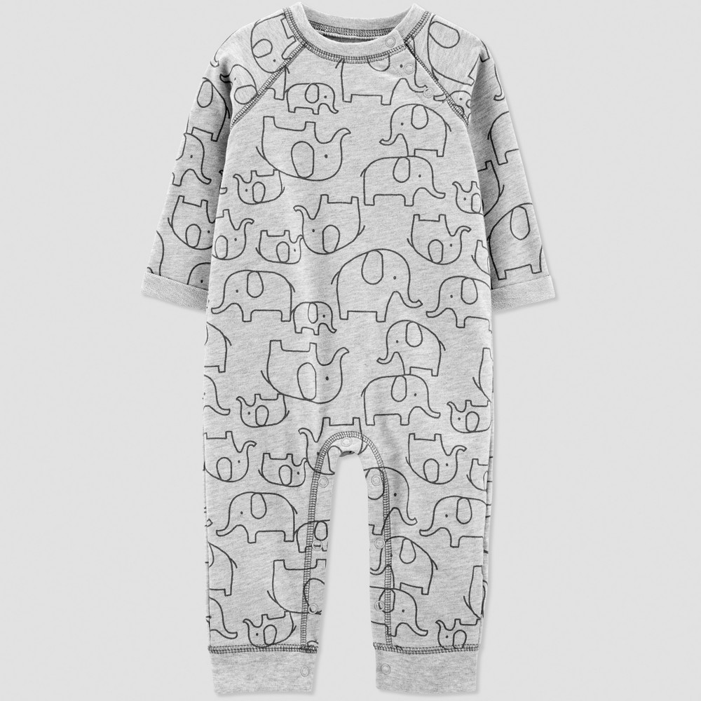 Baby Boys' 1pc French Terry Elephant Jumpsuit - Just One You made by carter's Gray 18M