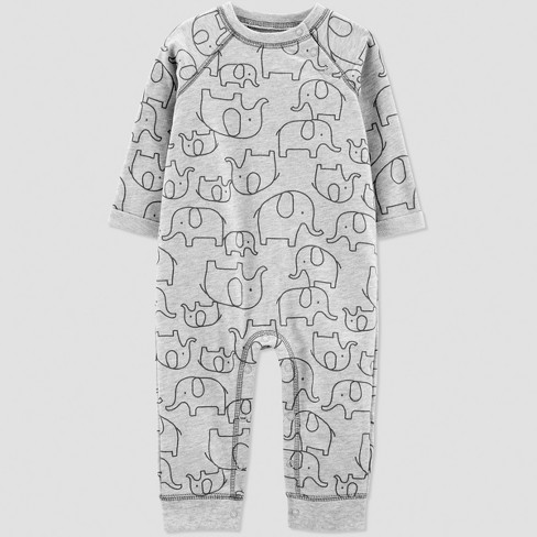 Baby Boys' 1pc French Terry Elephant Jumpsuit - Just One You® made by carter's Gray - image 1 of 1