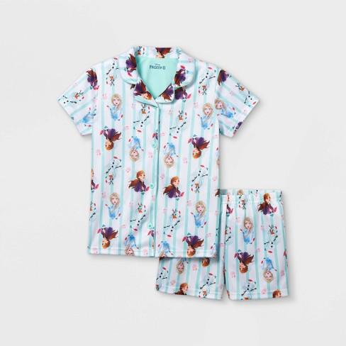 Girls' Frozen Sisters 2pc Pajama Set - White - image 1 of 3