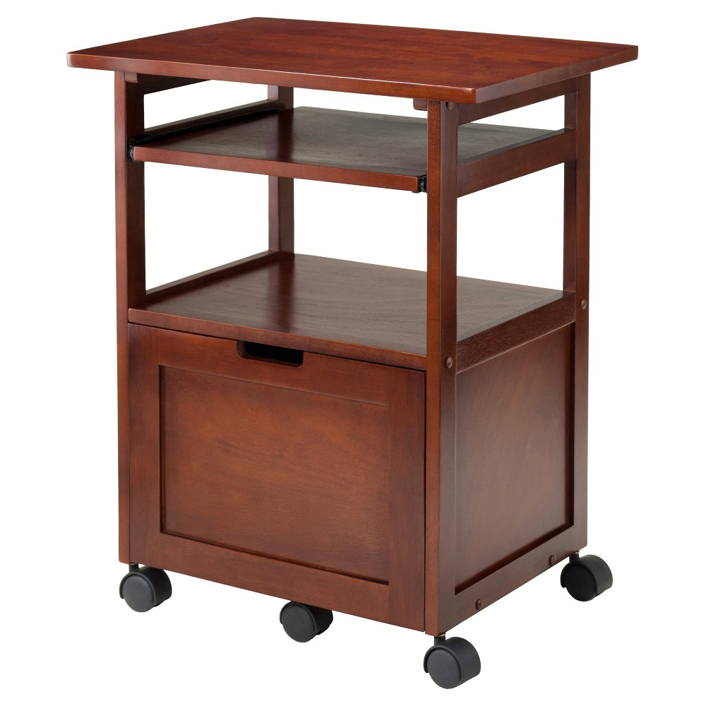 Piper Printer Stand - Walnut (Brown) - Winsome You'll have everything you need at your fingertips with the Piper Printer Stand from Winsome. The filing cabinet and printer stand come together to give you more for your limited space. Casters allow you to roll this stand wherever you need it to keep out of your way on the busiest of days. There's a pull-out shelf that will allow you to rest your laptop while hooking it up to your printer to get those important documents for putting into the filing cabinet. You'll love the versatility this printer stand combo provides. Color: Walnut.