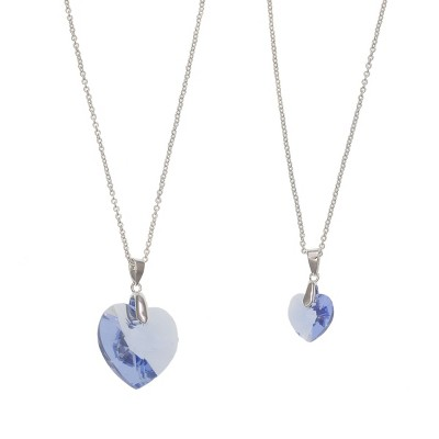 FAO Schwarz Fine Silver Plated CZ Stone Heart Pendant Necklace Set
